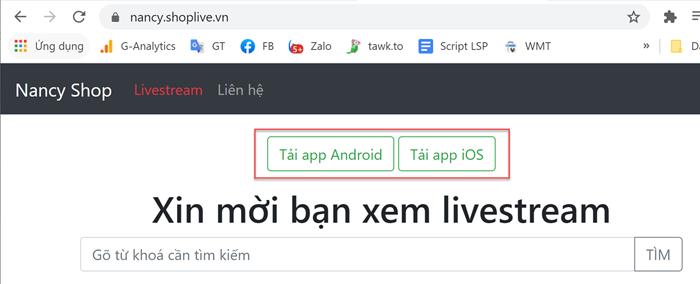 Gắn link, mã QR tải app